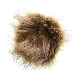 UDGÅET Pompon akryl imiteret ulv, gråbrun 11 - 13 cm