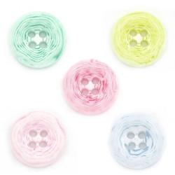 Pastelfarvet plastikknap. Pose med 15 knapper i blandede farver 13mm