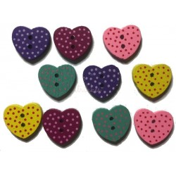 Hjerteknap i træ med prikker. Pose med 10 blandede knapper, 15mm