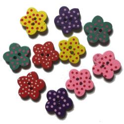 Blomsterknap i træ med prikker. Pose med 10 blandede knapper, 17mm