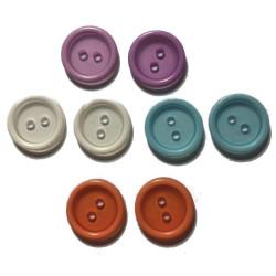 Rund transparent plastikknap. Pose med 8 knapper i blandede farver. 15mm