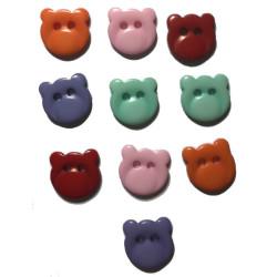 Bamsehoved plastknap. Pose med 10 blandede farver 13mm