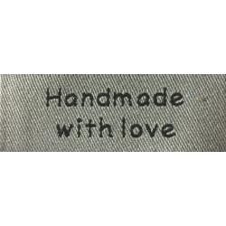 "Label ""Handmade with love"" 5 x 1,9 cm i grå"
