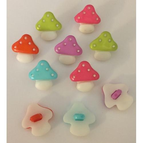 Svampe knapper i assorterede farver. Pose med 10 plastik knapper, 15mm