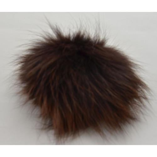 Pompon ræv brun 9 - 11 cm med tryklås