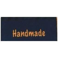 """Label """"handmade"""" 5 x 2 cm i blå"""