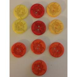 Plastikknap med transparent motiv. Pose med 10 knapper i blandede farver 13,5mm