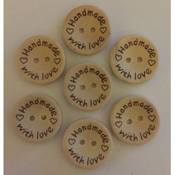 """Træknap natur med tekst """"handmade with love"""". Pose med 7 knapper, 20mm"""