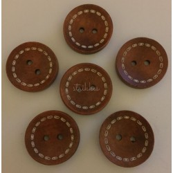 Brun træknap med sykant. Pose med 6 knapper , 25mm