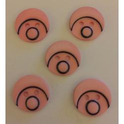 Babyansigts knap lyserød. Pose med 5 plastik knapper, 15mm