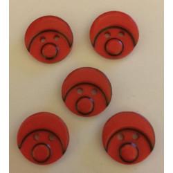 Babyansigts knap rød. Pose med 5 plastik knapper, 15mm