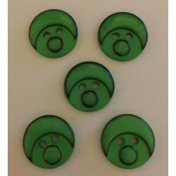 Babyansigts knap grøn. Pose med 5 plastik knapper, 15mm