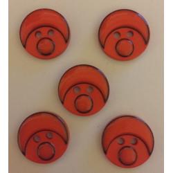 Babyansigts knap mørk orange. Pose med 5 plastik knapper, 15mm