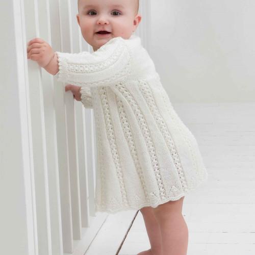 Kjole, hue og sokker - Viking Design 1006-4 Kit - 3-24 Mdr. - Viking Baby Ull