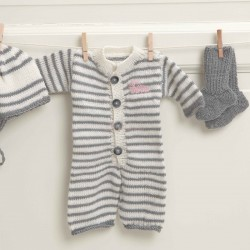 Heldragt, hue og sokker - Viking Design 1114-5B Kit - Prematur-4 År - Viking Baby Ull