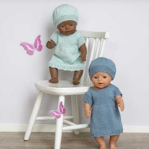 """Ida"" Kjole og hue - Viking Design 1610-1A Kit - Babyborn 42 cm - Viking Baby Ull"