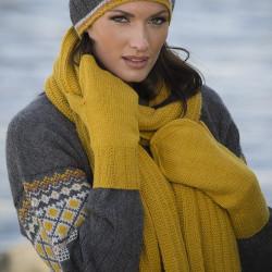 Hue, halstørklæde og vanter - Viking Design 1707-5 Kit - Onesize - Viking Alpaca Storm
