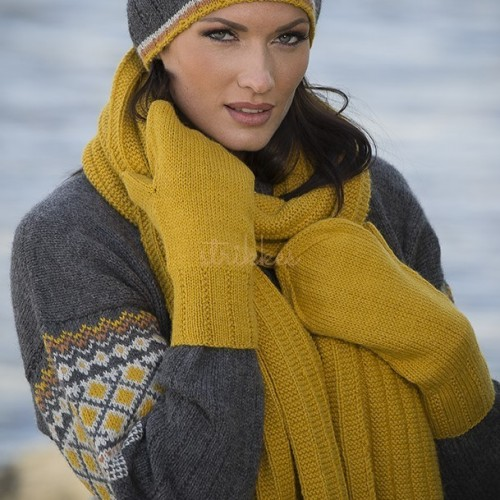 Hue, halstørklæde og vanter - Viking Design 1707-5 Kit - Dame/herre - Viking Alpaca Storm