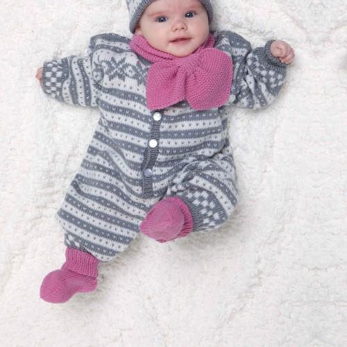 Heldragt, sokker, hue, og halstørklæde - Viking Design 1006-9 Kit - 3/6 mdr.-18/24 mdr. - Viking Baby Ull