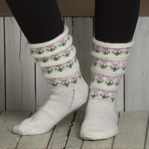 """Sokker """"Tulipan i bølger"""" - Viking Design 1805-9 Kit - Størrelse 28-42 - Viking Sportsragg"""