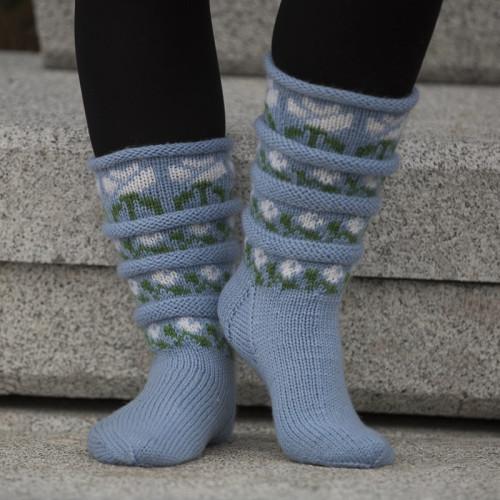 """Sokker """"Roser i bølger"""" - Viking Design 1805-11 Kit - Størrelse 28-42 - Viking Sportsragg"""