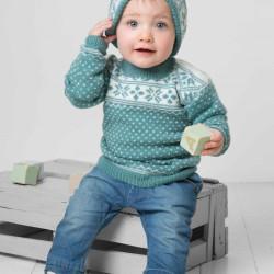 Genser, hue, vanter og halstørklæde - Viking Design 1404-10 Kit - 3 Mdr.- 2-4 år - Viking Baby Ull