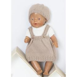 """""""Pia"""" Skørt, genser og hue - Babyborn 42cm - Viking Design 1610-4b - Viking Baby Ull"""
