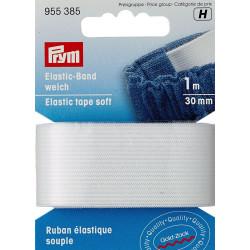 Flad elastik 30mm x 1m, hvid