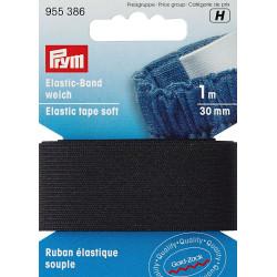 Flad elastik 30mm x 1m, sort