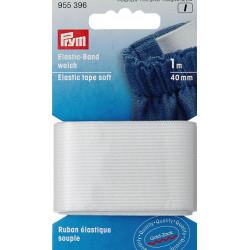 Flad elastik 40mm x 1m, hvid