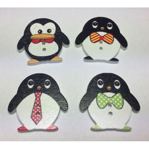 Pingviner i træ. Pose med 4 knapper. ca. 24x24mm