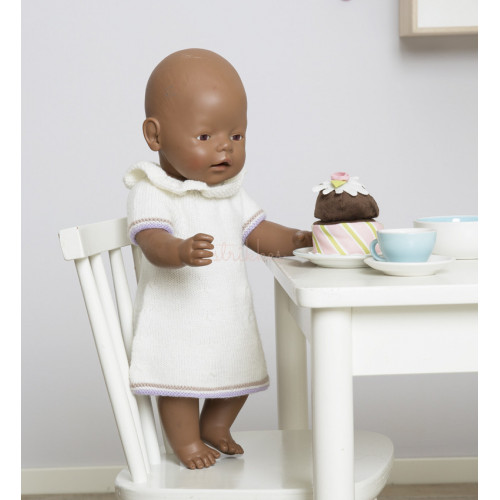 """""""Silja"""" Kjole og hat - Viking Design 1610-8-1 Kit Babyborn 42 cm - Viking Baby Ull"""