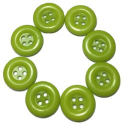 Lime farvede plastikknapper. Pose med 8 knapper. Størrelse 15mm