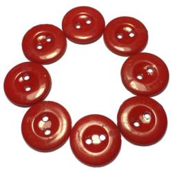Røde plastikknapper. Pose med 8 knapper. Størrelse 15mm