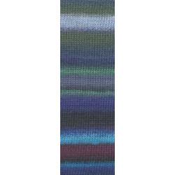 Lang Yarns Mille colori soks & lace luxe, farve 06 gul/grøn/ aubergine med sølv glimmer, 100g