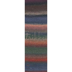 Lang Yarns Mille colori soks & lace luxe, farve 16 grøn/blå/rød med sølv glimmer, 100g