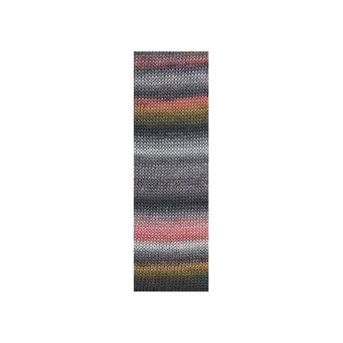 Lang Yarns Mille colori soks & lace luxe, farve 24 grå/melon med sølv glimmer, 100g