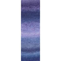 UDGÅET Lang Yarns Mille colori soks & lace luxe, farve 25 marine/lys blå/ lilla med sølv glimmer, 100g