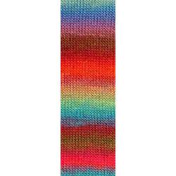 Lang Yarns Mille colori soks & lace luxe, farve 51 multifarvet lys blå/rød/brun nuancer med sølv glimmer, 100g