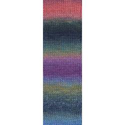 Lang Yarns Mille colori soks & lace luxe, farve 52 multifarvet blå/grøn/gul/rød nuancer med sølv glimmer, 100g