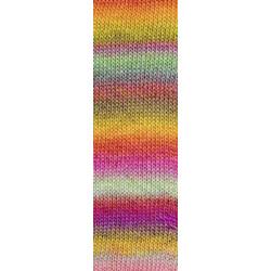 Lang Yarns Mille colori soks & lace luxe, farve 53 multifarvet pink/mint/gul nuancer med sølv glimmer, 100g