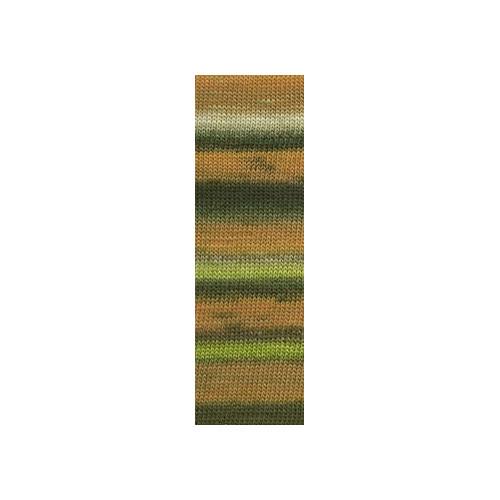 Lang Yarns Mille colori soks & lace luxe, farve 59 orange/brun nuancer med sølv glimmer, 100g