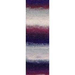 Lang Yarns Mille colori soks & lace luxe, farve 65 grå/violet/rose nuancer med sølv glimmer, 100g