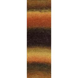 Lang Yarns Mille colori soks & lace luxe, farve 68 brun/melon/lys brun nuancer med sølv glimmer, 100g