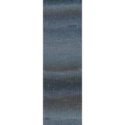 Lang Yarns Mille colori soks & lace luxe, farve 78 turkis/petrol/sølv nuancer med sølv glimmer, 100g