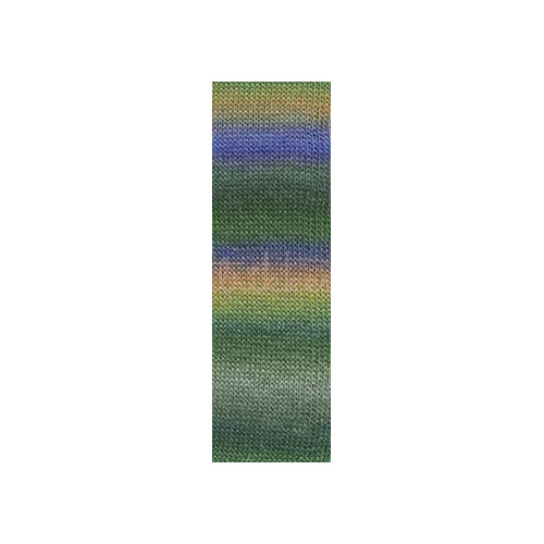 Lang Yarns Mille colori soks & lace luxe, farve 97 oliven/rust nuancer med sølv glimmer, 100g