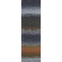 Lang Yarns Mille colori soks & lace luxe, farve 103 lys grå/nougat nuancer med sølv glimmer, 100g