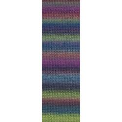 Lang Yarns Mille colori soks & lace luxe, farve 106 blå/pink nuancer med sølv glimmer, 100g