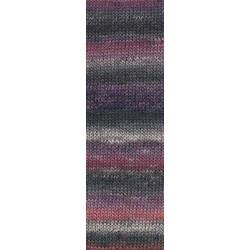 Lang Yarns Mille colori soks & lace luxe, farve 170 antracit/rød nuancer med sølv glimmer, 100g