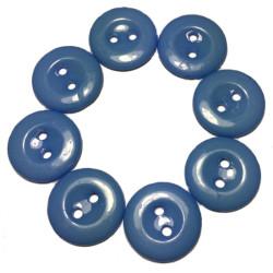 Lys blå plastikknapper. Pose med 8 knapper. Størrelse 15mm